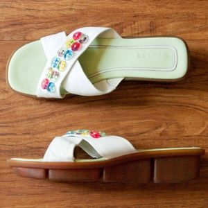 Are to Meucci White Leather & Rainbow Button Flats